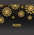 glitter gold snowflakes with falling particles on vector image