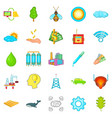 global warming icons set cartoon style vector image