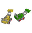 green and yellow excavator on white background vector image