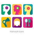 Hairstyle rectangular icons with rounded corners vector image vector image
