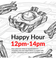 happy hour in cafe or bistro sandwich discount