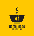 home cooking logo on yellow in background vector image vector image