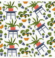 houseplant in pots seamless pattern flowers vector image vector image