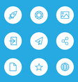 interface outline icons set collection of globe vector image vector image