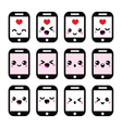 Japanese cute Kawaii character - phone icons vector image vector image