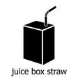 juice box straw icon simple black style vector image vector image