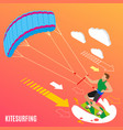 kite surfing isometric background vector image vector image
