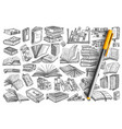 library books doodle set collection vector image