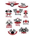Motorsports racing and rally icons vector image vector image