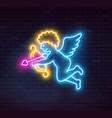 neon cupid on dark background vector image vector image
