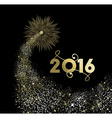 New Year 2016 gold firework explosion card vector image vector image