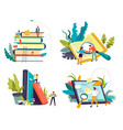 online library service book piles and tablet vector image