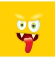 orange funny comic monster face vector image vector image