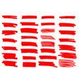 painted grunge stripes set red labels background vector image