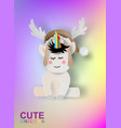 paper art of cute unicorn rainbow color vector image