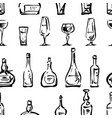 pattern wine glasses and bottles sketches vector image
