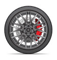 realistic wheel alloy tire radial break disk vector image