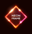 red neon glowing square rhombus vector image