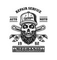repair service emblem with mechanic skull vector image vector image