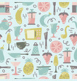 seamless pattern with kitchen appliances vector image vector image