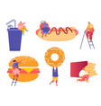set man and woman characters with fastfood vector image