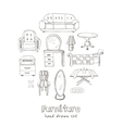 Set of doodle sketch furniture vector image vector image