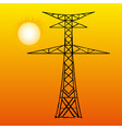 silhouette high voltage power lines on orange vector image vector image