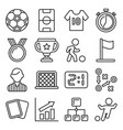 soccer icons set on white background line style vector image