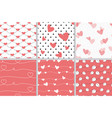 valentine heart seamless pattern on red coral vector image vector image