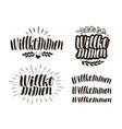 willkommen handwritten lettering calligraphy vector image vector image