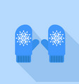 winter blue gloves icon flat style vector image