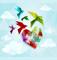 Colorful origami birds with heart background vector image