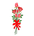 A Lovely Red Rose Bouquet with Red Ribbon vector image vector image