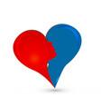 abstract couple heart love logo vector image vector image