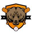 bear head baseball mascot vector image vector image