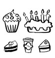 birthday cake coffee cupcake grunge icon set vector image