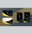 black and golden premium business card design vector image vector image