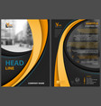 black flyer template with orange stripes vector image