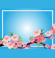 border template with pink blossom flowers vector image