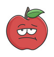 bored red apple cartoon apple vector image vector image