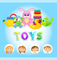 bright colorful playthings kids and toys vector image vector image