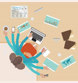 busy businesswoman working hard on his desk vector image vector image