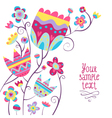 Card background with colorful flowers vector image vector image