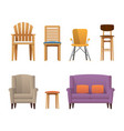 colorful decorative modern design wooden chairs vector image