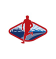 Cross country runner with landscape and sunburst vector image vector image
