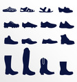 Different types of men footwear vector image