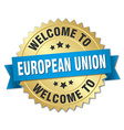european union 3d gold badge with blue ribbon vector image vector image