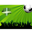 football ball on green background with shield vector image vector image