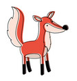 fox cartoon in watercolor silhouette with thin vector image vector image