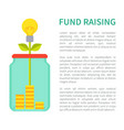 fund raising bright poster with jar money box vector image vector image